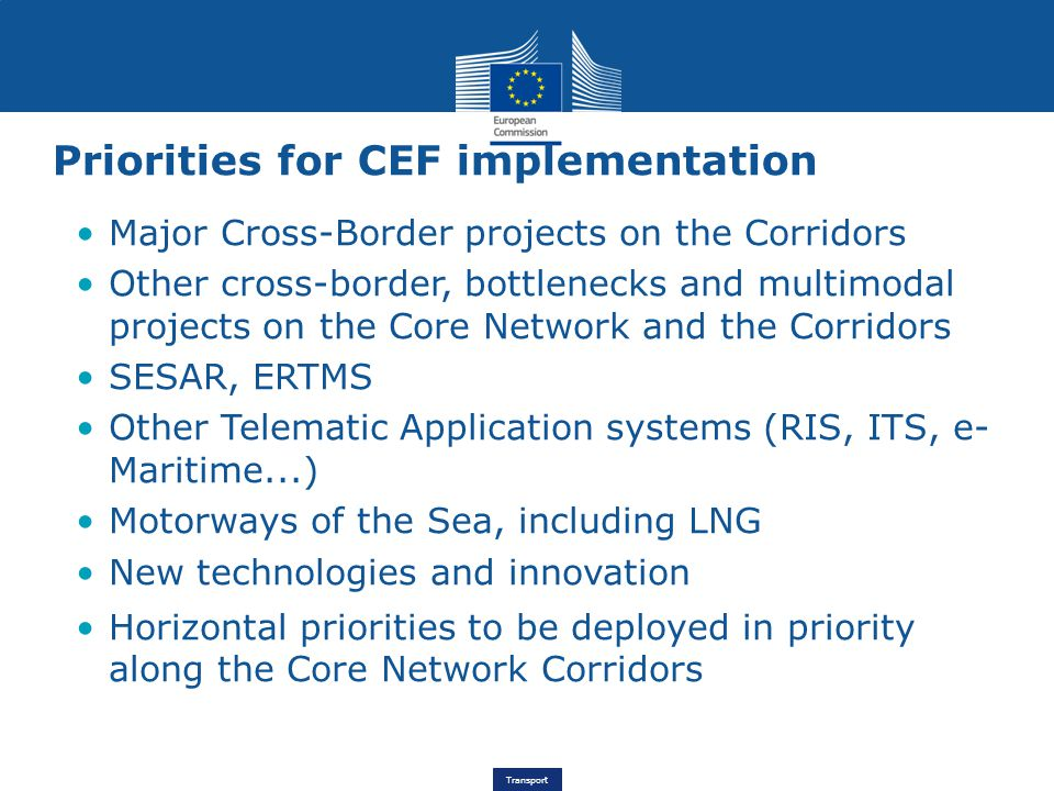 Priorities for CEF implementation