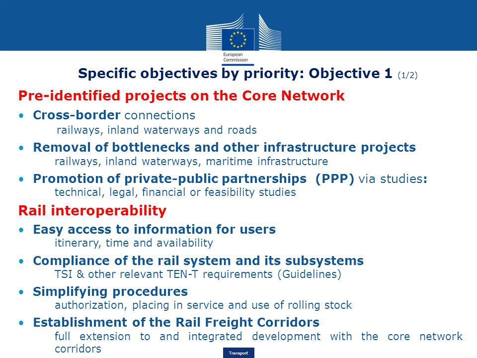 Specific objectives by priority: Objective 1 (1/2)