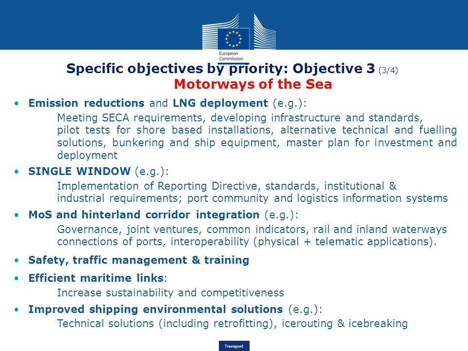 Specific objectives by priority: Objective 3 (3/4) Motorways of the Sea
