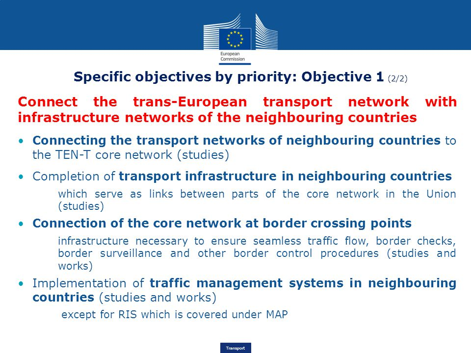 Specific objectives by priority: Objective 1 (2/2)