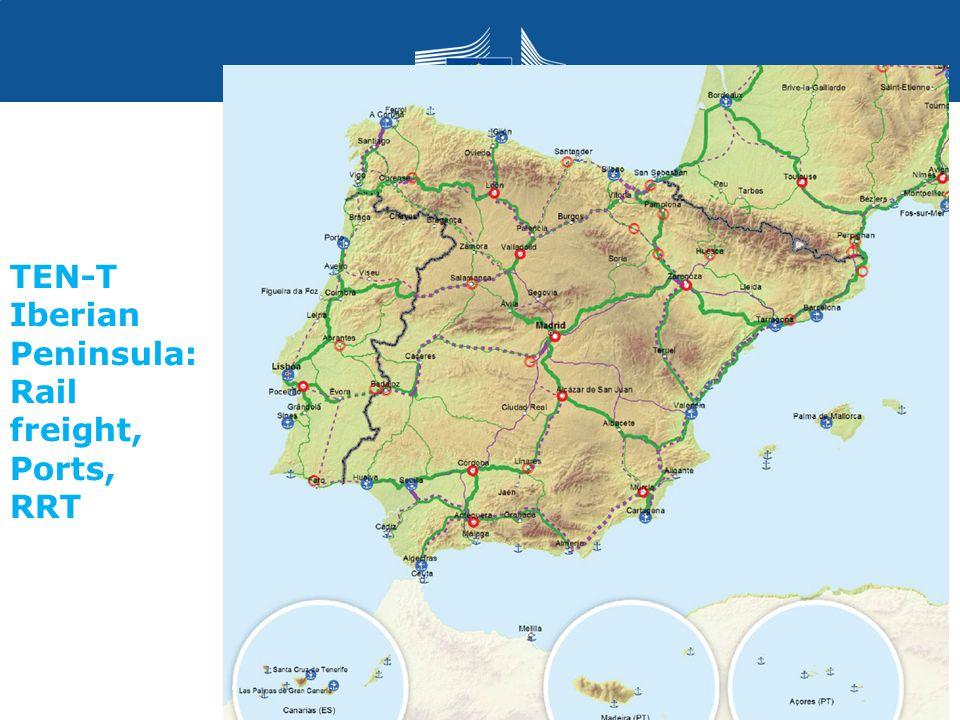 TEN-T Iberian Peninsula: Rail freight, Ports, RRT