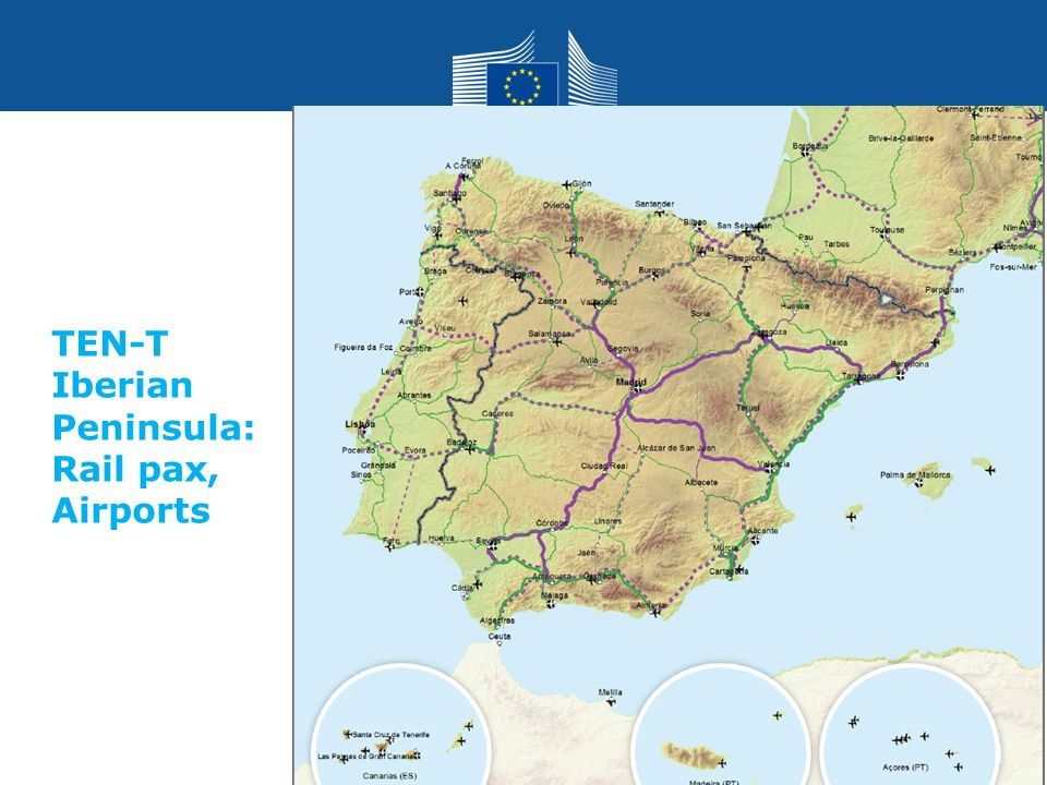 TEN-T Iberian Peninsula: Rail pax, Airports