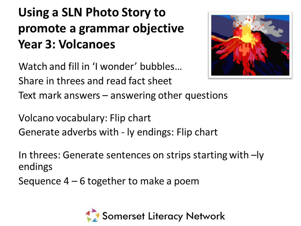 Using a SLN Photo Story to promote a grammar objective Year 3: Volcanoes