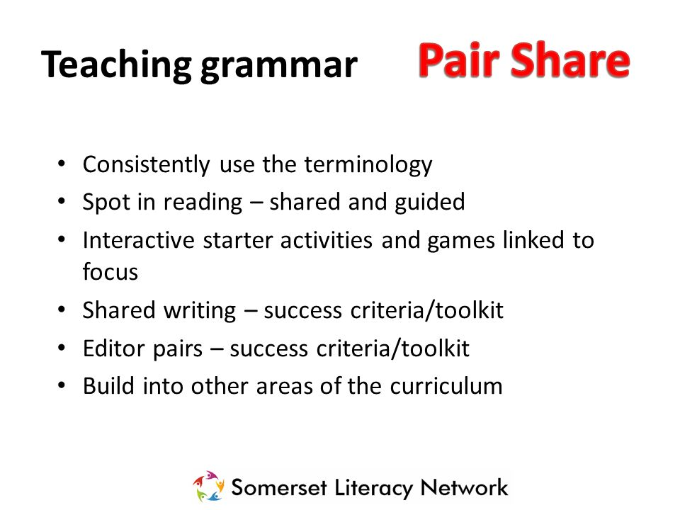 Pair Share Teaching grammar Consistently use the terminology