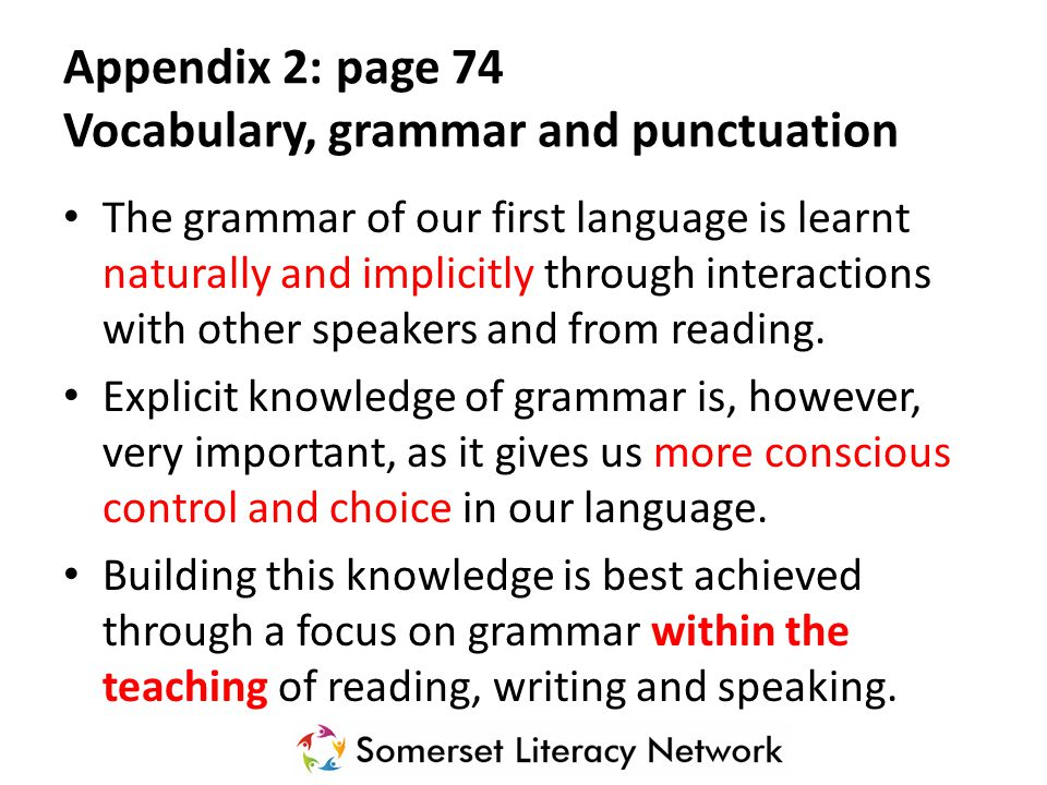 Appendix 2: page 74 Vocabulary, grammar and punctuation