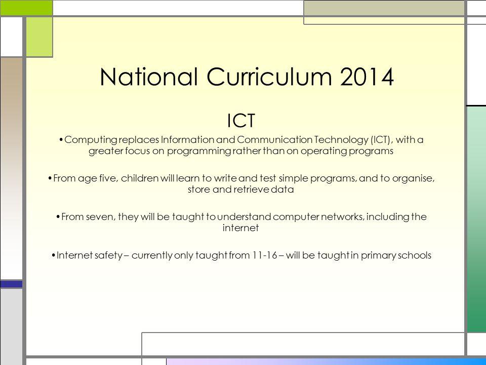 National Curriculum 2014 ICT