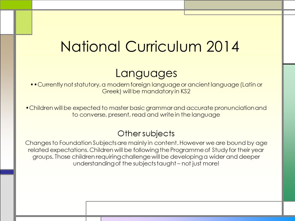 National Curriculum 2014 Languages Other subjects
