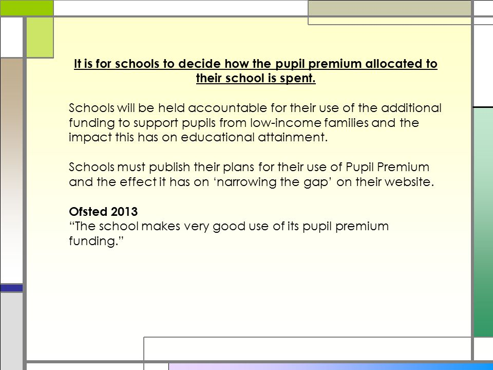 It is for schools to decide how the pupil premium allocated to their school is spent.