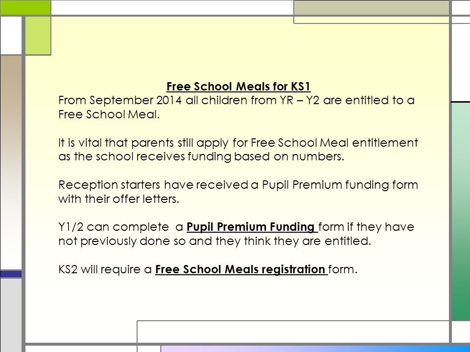 Free School Meals for KS1