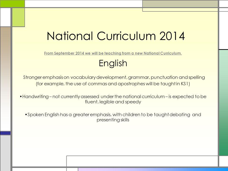 National Curriculum 2014 English