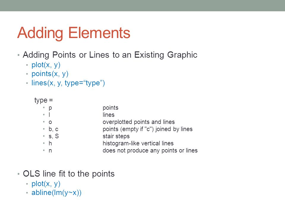 Adding Elements Adding Points or Lines to an Existing Graphic