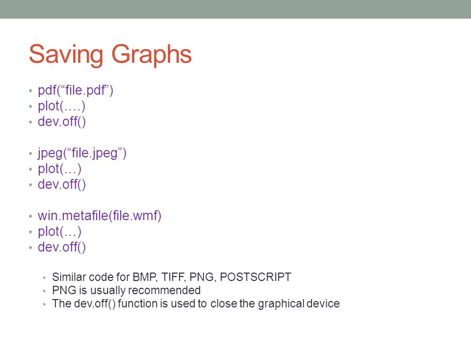 Saving Graphs pdf( file.pdf ) plot(….) dev.off() jpeg( file.jpeg )