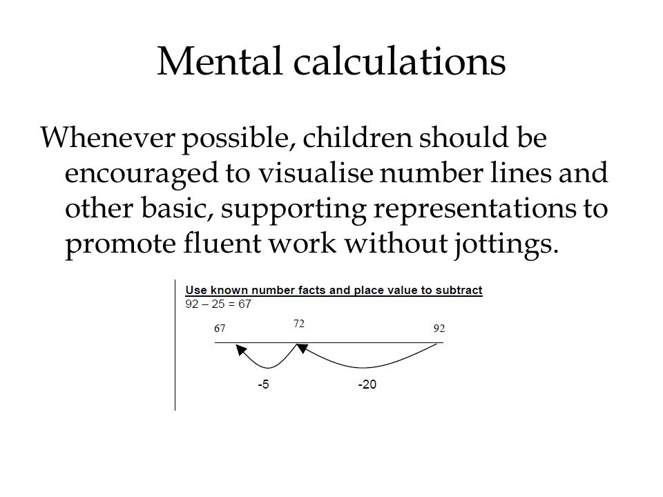 Mental calculations
