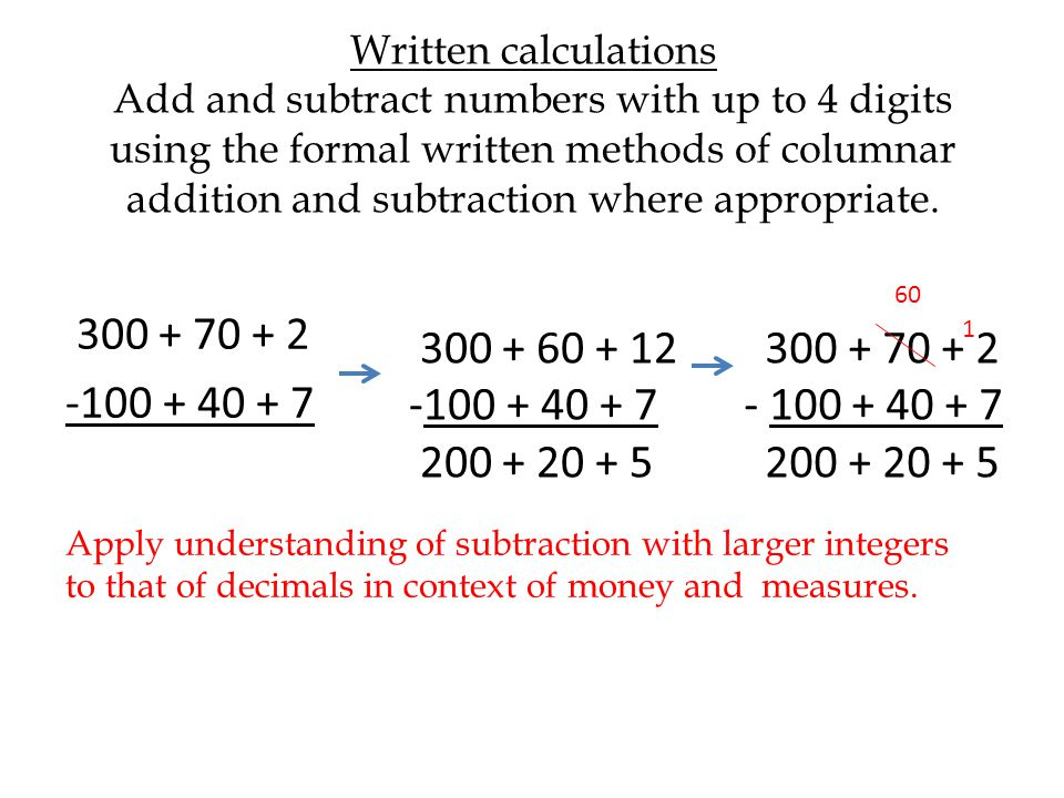 Written calculations Add and subtract numbers with up to 4 digits using the formal written methods of columnar addition and subtraction where appropriate.