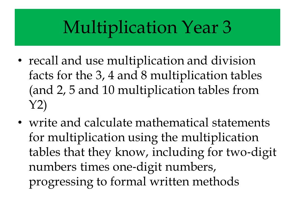 Multiplication Year 3