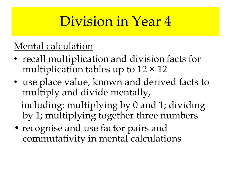 Division in Year 4 Mental calculation