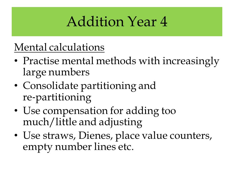 Addition Year 4 Mental calculations
