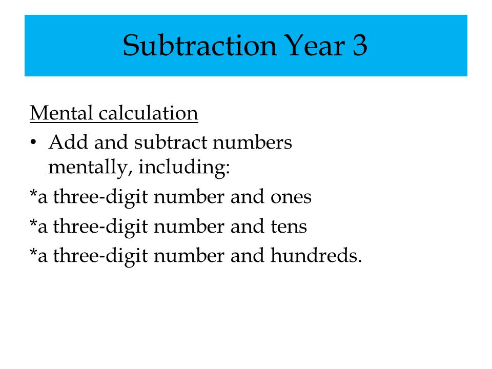 Subtraction Year 3 Mental calculation