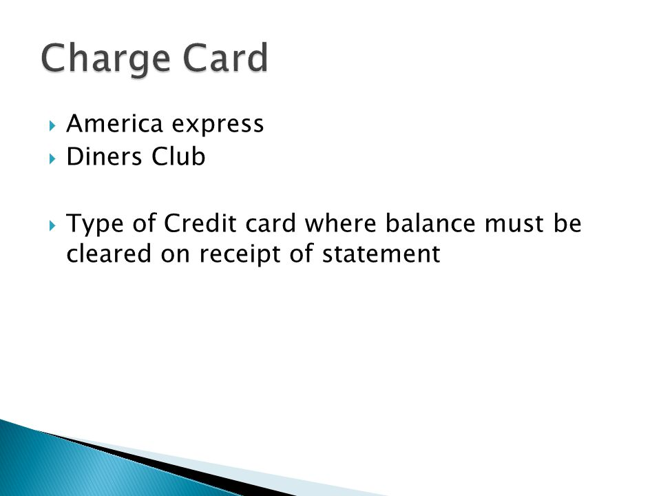 Charge Card America express Diners Club