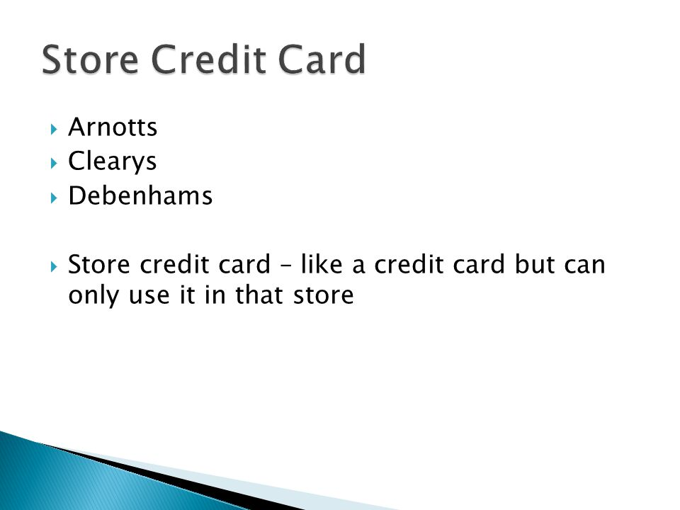 Store Credit Card Arnotts Clearys Debenhams