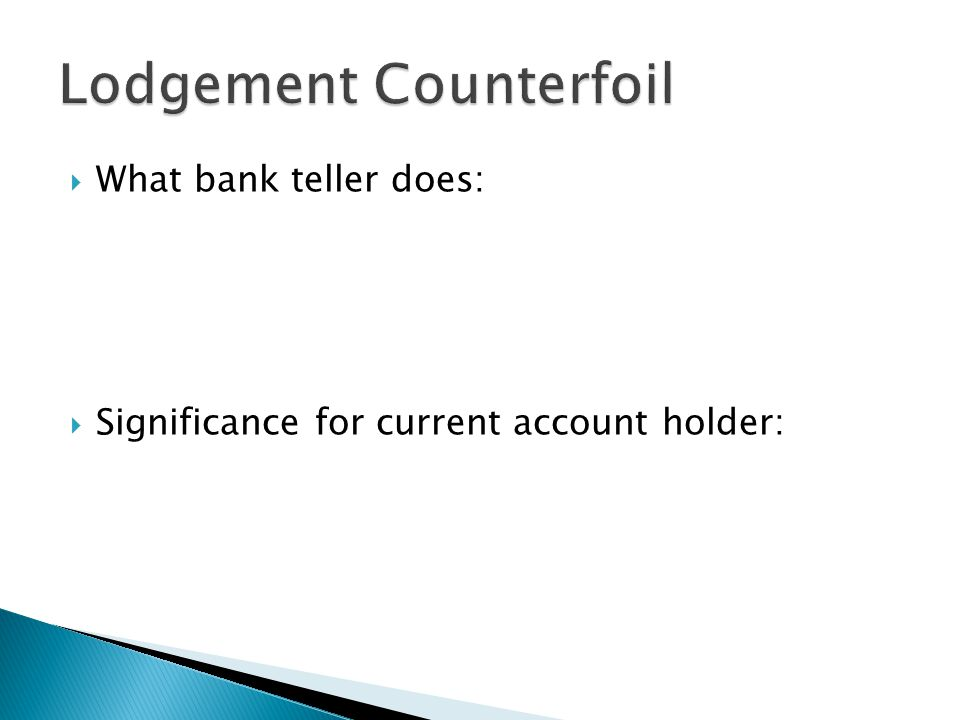 Lodgement Counterfoil