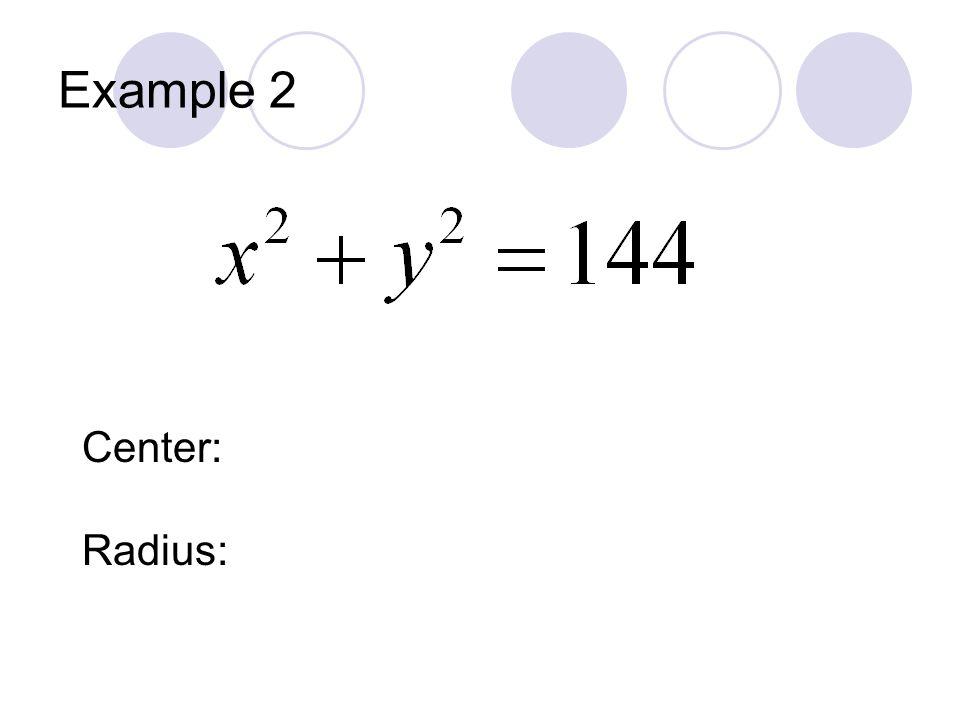 Example 2 Center: Radius: