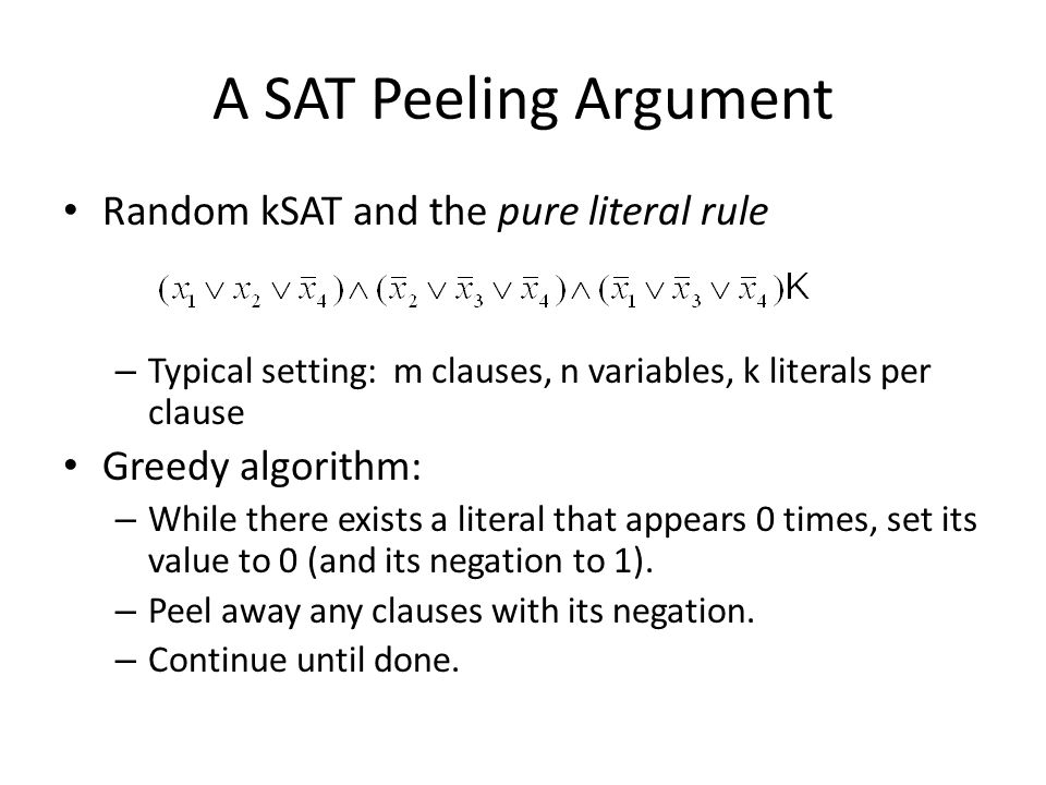A SAT Peeling Argument Random kSAT and the pure literal rule