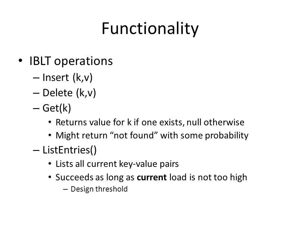 Functionality IBLT operations Insert (k,v) Delete (k,v) Get(k)