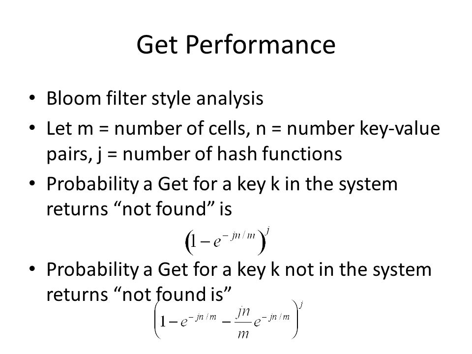 Get Performance Bloom filter style analysis