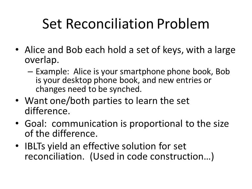 Set Reconciliation Problem