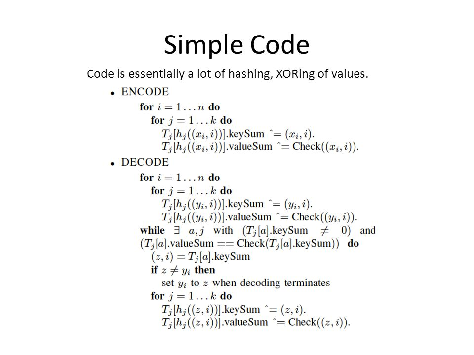 Simple Code Code is essentially a lot of hashing, XORing of values.