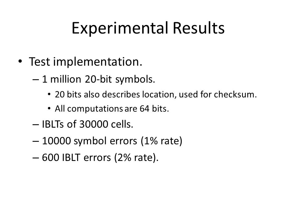 Experimental Results Test implementation. 1 million 20-bit symbols.
