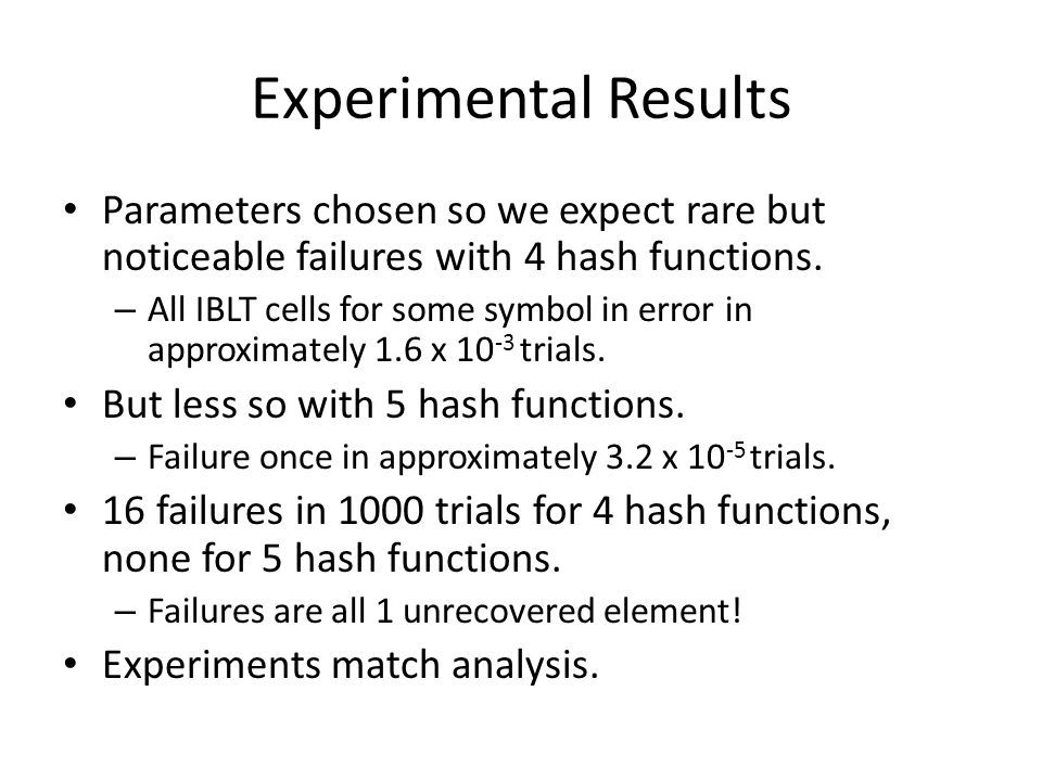 Experimental Results Parameters chosen so we expect rare but noticeable failures with 4 hash functions.