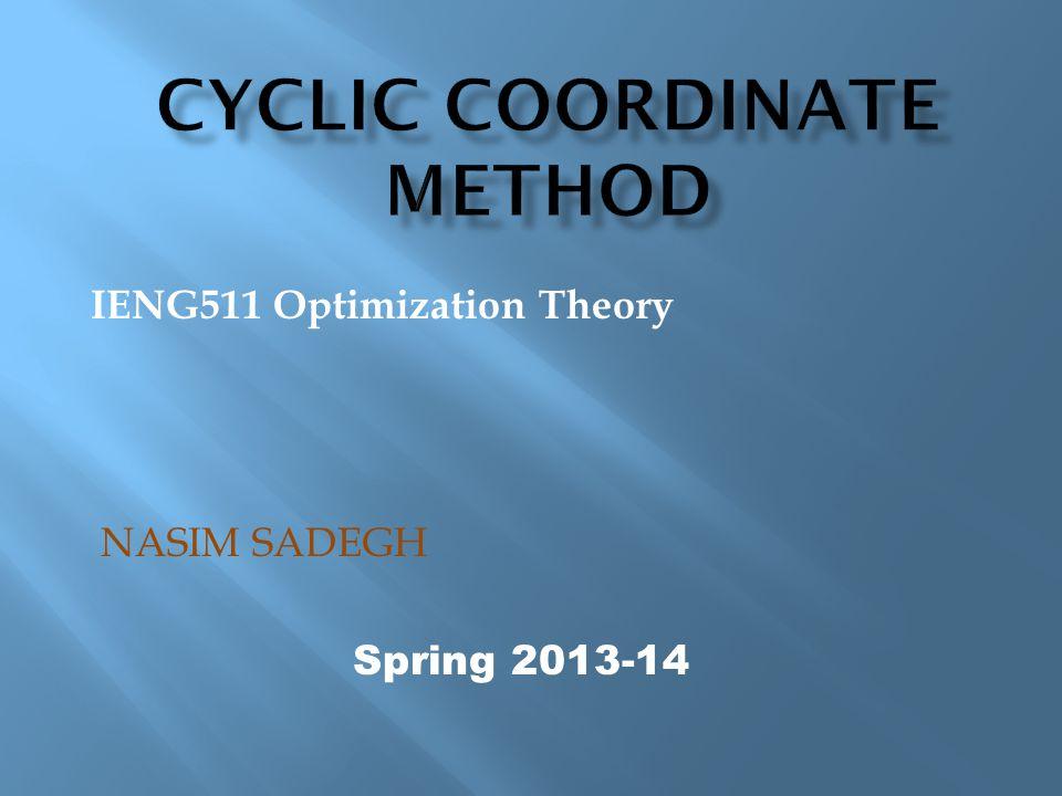 Cyclic Coordinate Method