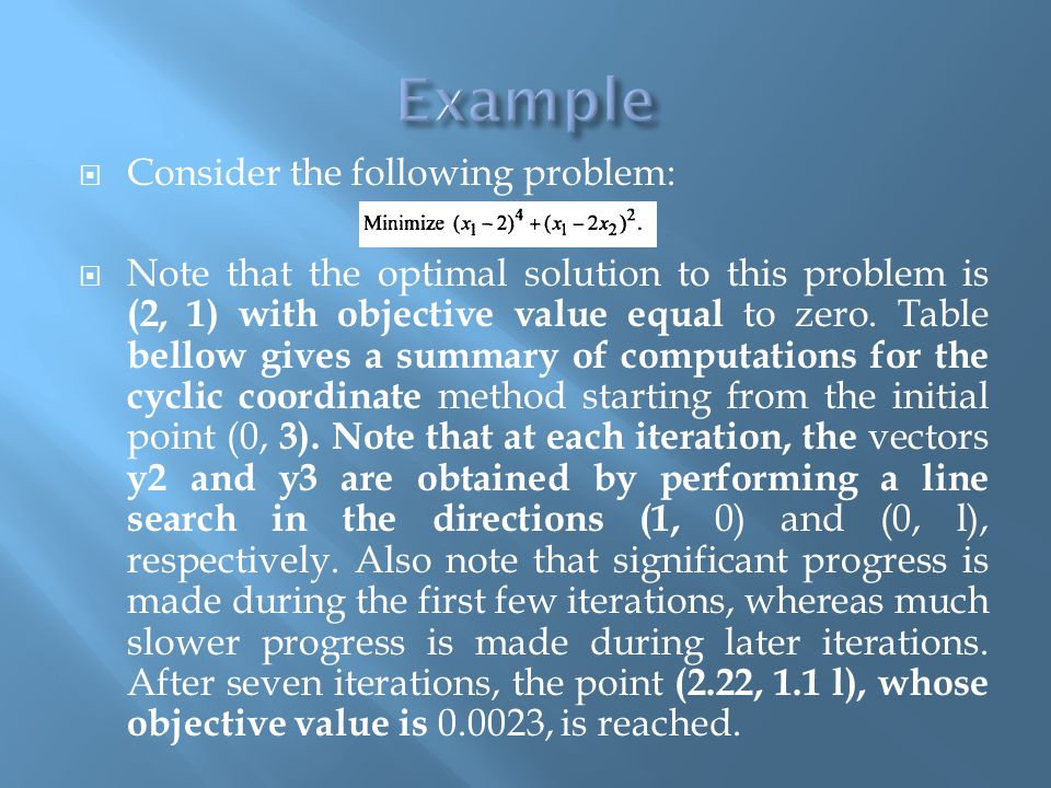 Example Consider the following problem: