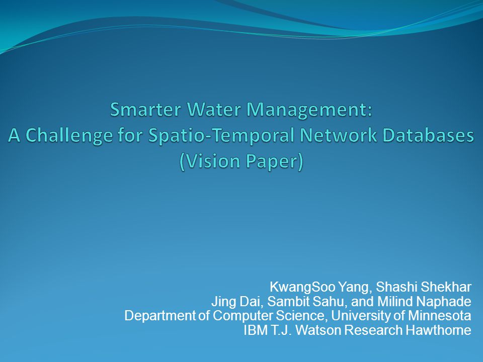 Smarter Water Management: A Challenge for Spatio-Temporal Network Databases (Vision Paper)