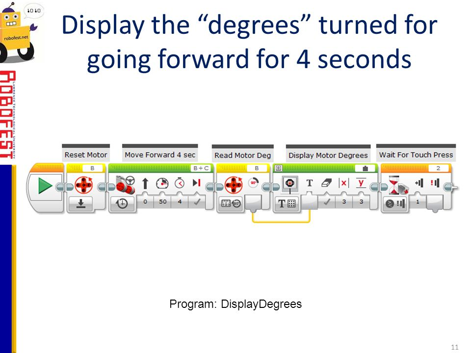 Display the degrees turned for going forward for 4 seconds
