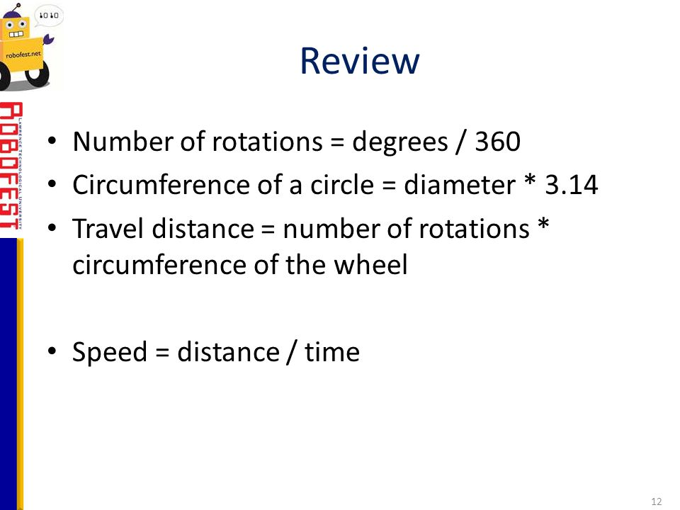 Review Number of rotations = degrees / 360