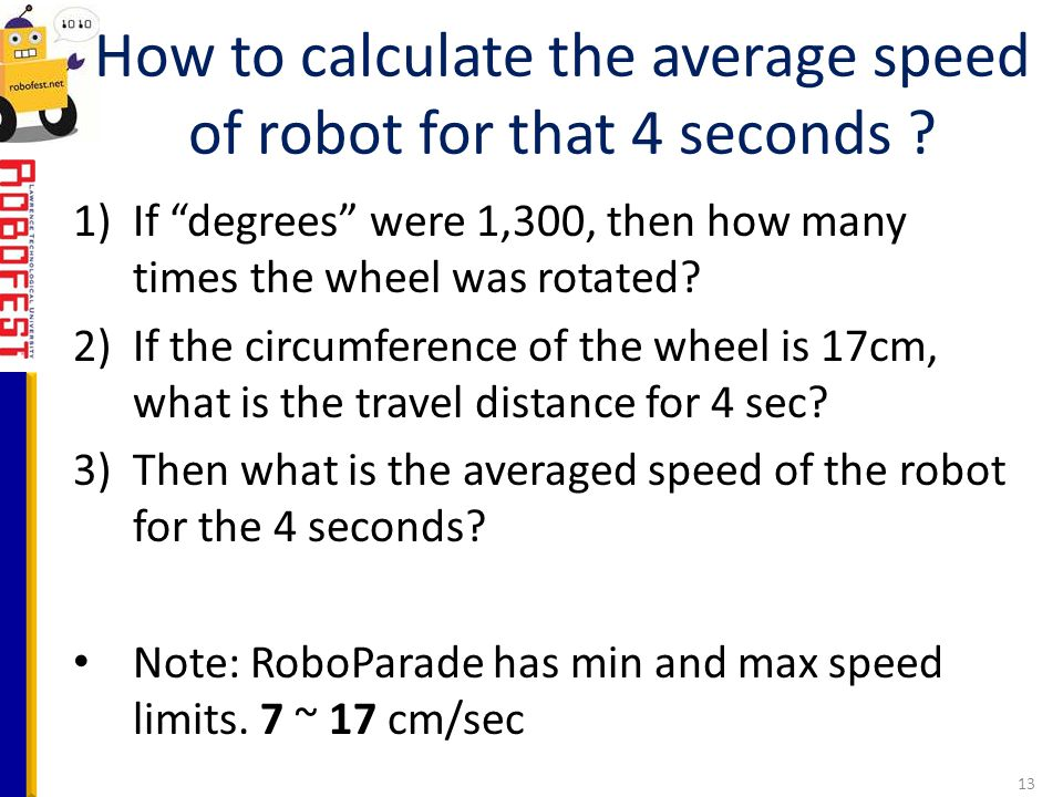How to calculate the average speed of robot for that 4 seconds