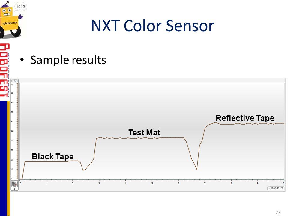 NXT Color Sensor Sample results Reflective Tape Test Mat Black Tape