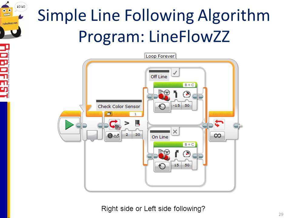 Simple Line Following Algorithm Program: LineFlowZZ
