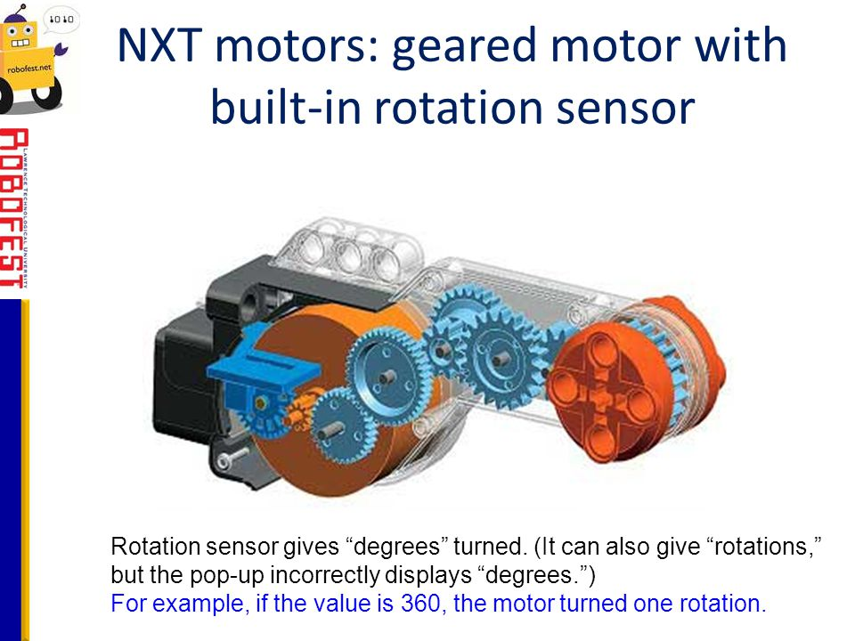 NXT motors: geared motor with built-in rotation sensor