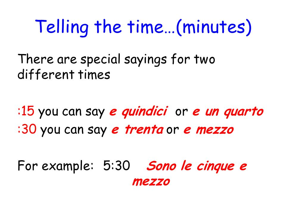 Telling the time…(minutes)