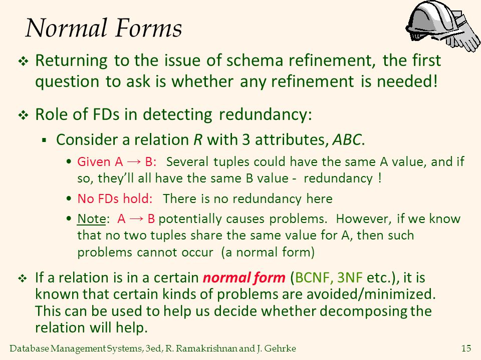 Normal Forms Returning to the issue of schema refinement, the first question to ask is whether any refinement is needed!