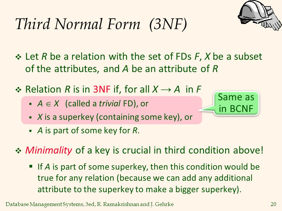 Third Normal Form (3NF) Let R be a relation with the set of FDs F, X be a subset of the attributes, and A be an attribute of R.