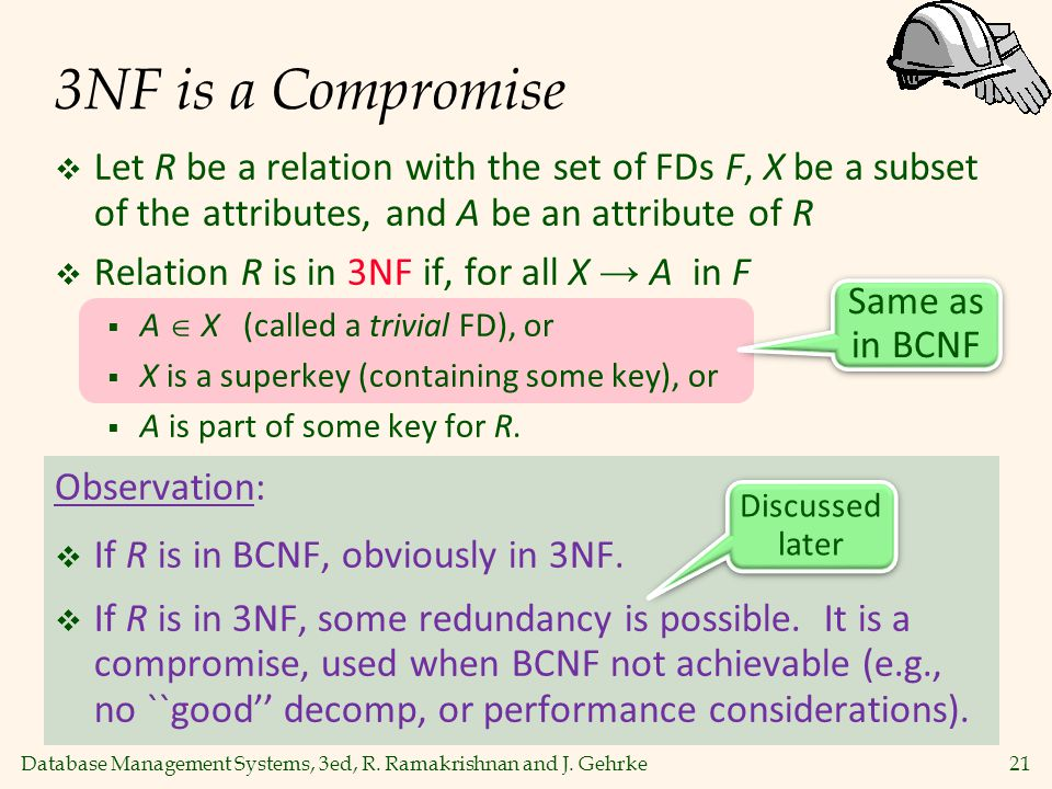 3NF is a Compromise Let R be a relation with the set of FDs F, X be a subset of the attributes, and A be an attribute of R.
