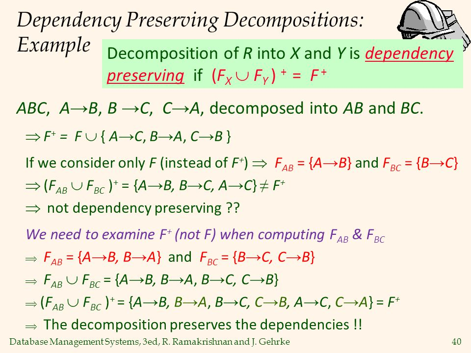 Dependency Preserving Decompositions: Example