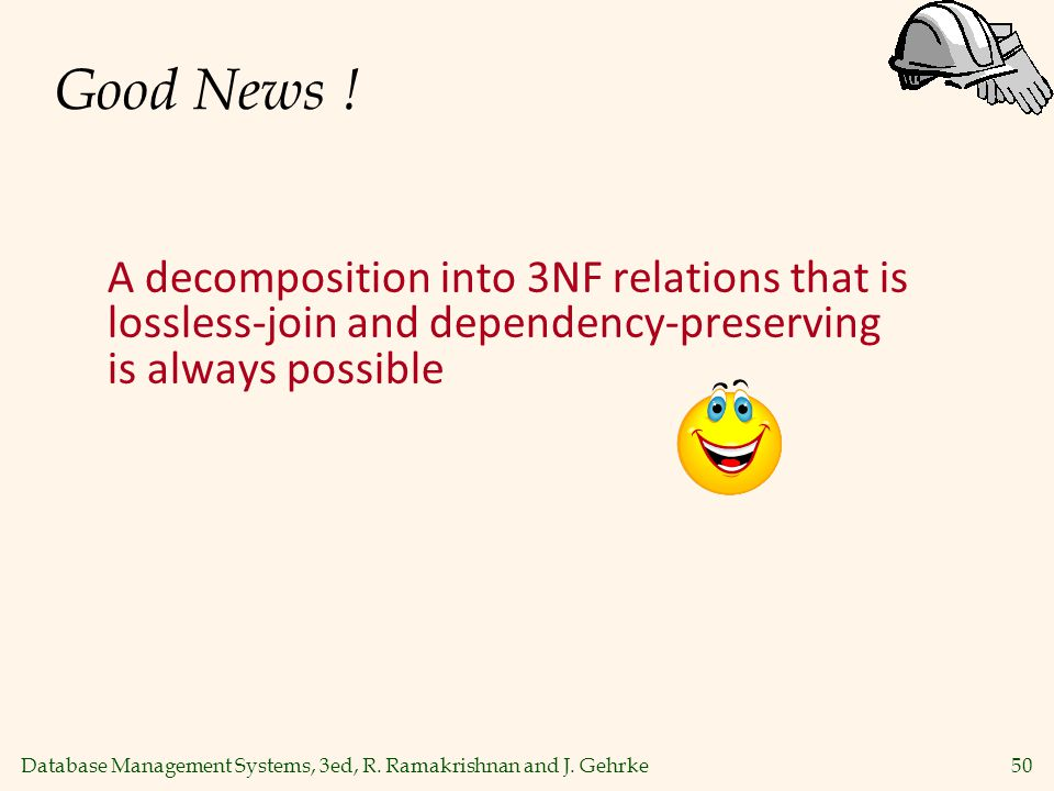 Good News ! A decomposition into 3NF relations that is lossless-join and dependency-preserving is always possible.