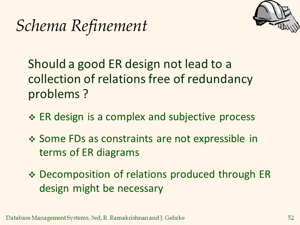 Schema Refinement Should a good ER design not lead to a collection of relations free of redundancy problems