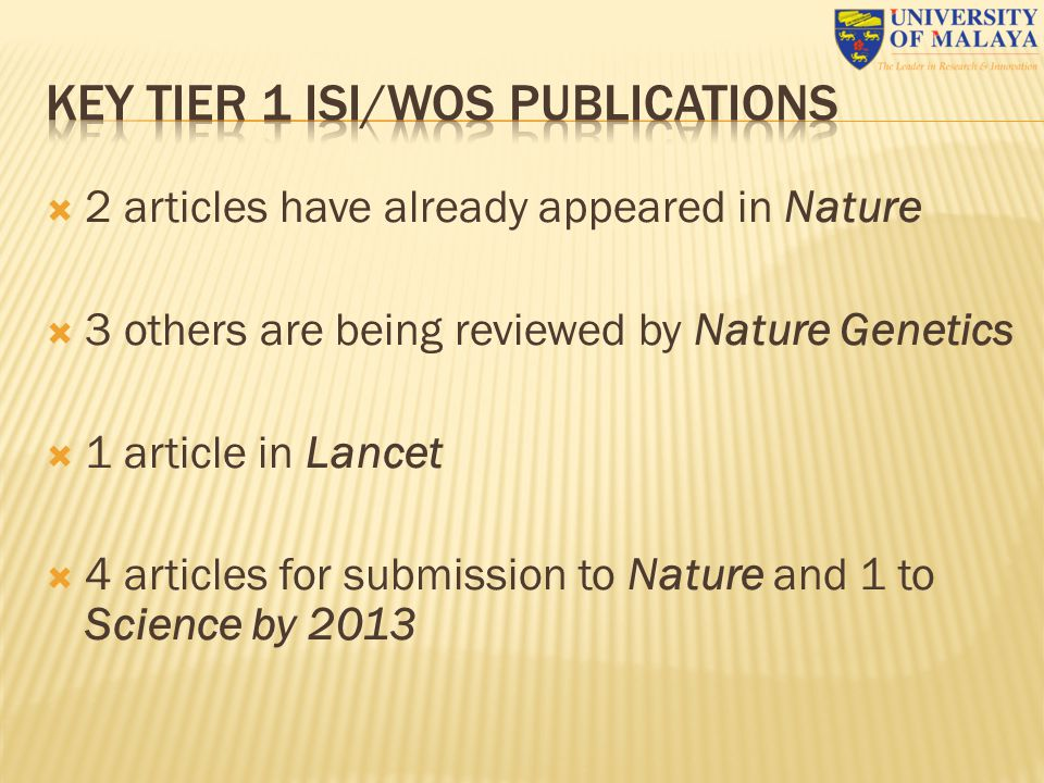 KEY TIER 1 ISI/WoS PUBLICATIONS